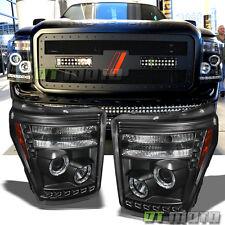 Blk 2011-2016 F250 F350 F 450 Super Duty DRL LED Projector Halo Headlights 11-16