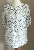 M&S Collection Size 8 Ladies White Top With Blue Print Detail, BNWT