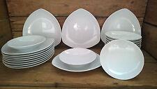 24 tlg. Tafelservice Tafelset Tellerset für 12 Personen Porzellan weiß Geo