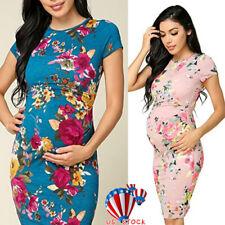 8effbe280c Women Summer Maternity Pregnancy Midi Dress Floral Short Sleeve Dress Plus  Size