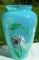 """Fenton Sky Blue Opalescent Hand Painted """"Dahlia Dream"""" Vase 9""""H  MINT**"""