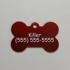 Pet Id Tag Doggie Bone Cat Dog Collar License Custom Personalized Laser Engraved