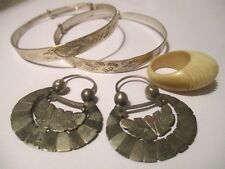vintage / antique Chinese jewelry lot sterling silver bangles butterfly earrings