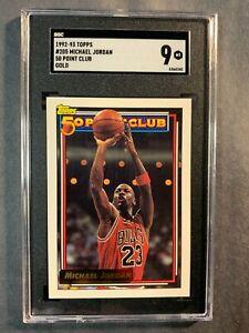 1992-93 Topps #205 50 Pt Club Gold Michael Jordan Graded SGC 9 Bulls