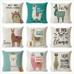 Cartoon Alpaca Back Cushion Covers Text Square Pillow Case Tropical Vintage Sofa