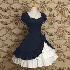 Women Retro Medieval Lolita Dress Bowknot Ruffles Short Sleeve Patchowrk Cosplay