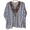 Umgee Womens Small Medium Blue Stripe Boho Tunic Poncho Shirt Top Blouse S/M