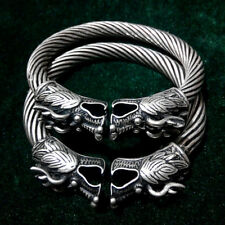Nationality Hand carved Dragon head Miao Silver bracelet pair
