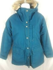 Vintage Woolrich Womens Blue Coyote Fur Hood Parka Coat Jacket Size Small