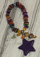 Colorful Mother Of Pearl MOP Chip Crystals Purple Howlite Star Bracelet