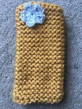 Hand knitted Mobile phone sock/cover/case Mustard With Grey flower detail