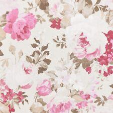 Dekostoff Rosen Pfingstrosen groß creme rosa