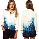 Womens Ladies Flower Print Chiffon Long Sleeve Blouse T-shirt Tops S/M/L Pop