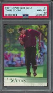 2001 Upper Deck Golf #1 Tiger Woods RC Rookie Gem Mint PSA 10