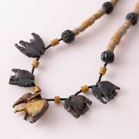 Vintage Carved Elephant Safari Wood Bead Beaded Ethnic Boho Bohemian Necklace
