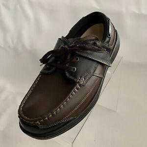 Orthofeet Mens Baton Rouge Boat Orthopedic Black Brown Leather Shoes Size 9.5/2E