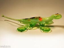 Glass Blown Art Figurine Animal LIZARD Green Murano Style
