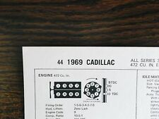 1969 Cadillac Series Models 375 HP 472 CI V8 SUN Tune Up Chart Excellent Shape!