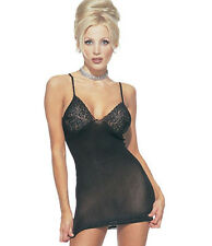Leg Avenue - Opaque chemise with lace trim. - One Size - 8793
