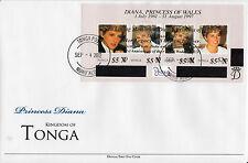 Tonga 2012 FDC Princess Diana Overprint 4v M/S 1st Wedding Anniv William Kate