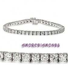 6.4 natural F VS round ideal cut diamond 4 prong tennis bracelet white gold 18k