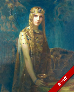 CELTIC PRINCESS ISOLDE BEAUTIFUL WOMAN PAINTING ART PRINT ON REAL CANVAS