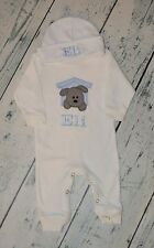Monogrammed Sleeper Romper and Hat Set size 0-3 M, Personalized Puppy Doghouse