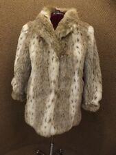 High Class NEW Gorgeous Snow Leopard Lynx Plush Long Hair Faux Fur Short Coat 14