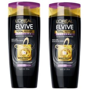 (2) L'Oréal Paris ELVIVE Total Repair Extreme Renewing Shampoo Wheat Protein NEW