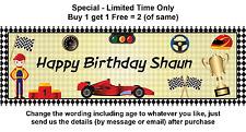 Personalised Boy Child Racing Car Grand Prix Birthday Party Banner Sign Poster