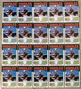 Cal Ripken 1986 Topps #340 Baltimore Orioles 20ct Card Lot