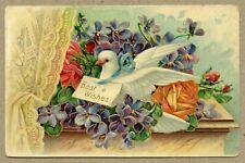 Best Wishes Floral Flowers White Dove Delivering Best Wishes Blue & Orange Emb