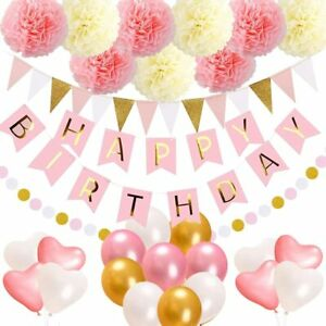 52 Happy Birthday Decorations Set for Girl Banner Balloon Bunting Party Supplies