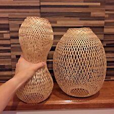DIY 2 BASKETs BAMBOO THAI HAND MADE CRAFT LAMP HOME DECORATION WEAVES NAUTICAL