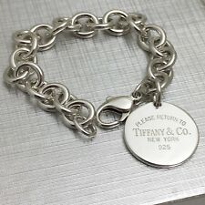 Please Return To Tiffany & Co New York Round Circle Tag Bracelet Small 7""