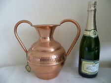 FRENCH, ORNATE, HAMMERED COPPER URN. 'LLECELLIE VILLEDIEU' HAMMERED COPPER VASE