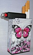 Pink Butterfly Cigarette Case Lighter Box Holder Kings 100's Tobacco Ryo