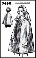 CROCHET Crocheting Crocheted Pattern Vint 70s Design #5498 PANEL CAPE Coat S-M-L