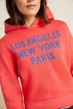 NWT S Sundry Anthropologie Cities Red Cotton Hoodie LA NY Paris Lounge Sweater