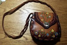 Vintage / Hand Painted Leather Hippie Purse