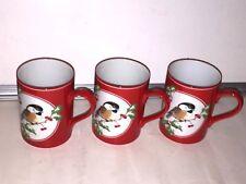 Fitz & Floyd CHRISTMAS CHICKADEE Set Of 4 Coffee Mugs~Excellent