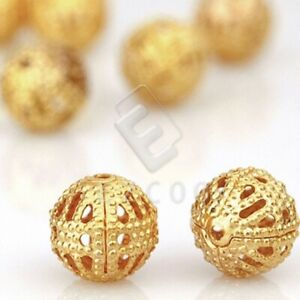 65/70/145/160pcs Loose Metal Spacer Beads Round Gold Silver 6mm/8mm 0.8mm Hole