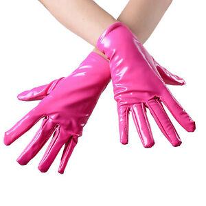 Lady Faux Leather Gloves Glitter Wet Look Latex Like Wrist Gothic Stage Cosplay
