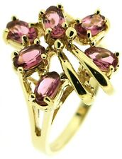 Ladies 9Carat 9ct yellow gold pink cluster rings oval tourmaline size N vintage