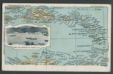 St. Thomas D.W.I. Caribbean 1907-10 John Walker Map Postcard GEOGRAPHICAL SERIES