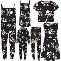 Kids Girls Boys Halloween Skull Print Crop Top Legging Skater Dress Costume 5-13