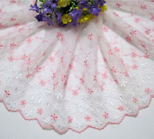 "7.5""*1yard Embroidered Tulle Eyelet Lace Trim Sewing/Craft~Pink~White"
