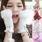 Cute Warm Soft Rabbit Fur Hand Wrist Warmer Fingerless Winter Gloves