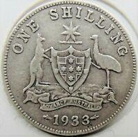 1933 Australia George V One Shilling, Grading About FINE / FINE.