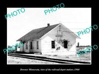 OLD POSTCARD SIZE PHOTO OF DOWNER MINNESOTA THE RAILROAD DEPOT STATION c1960